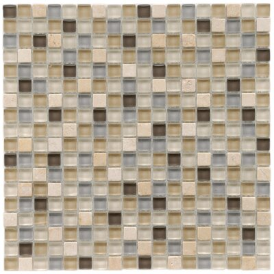"EliteTile Sierra 5/8"" x 5/8"" Polished Glass and Stone Mini Mosaic in River"