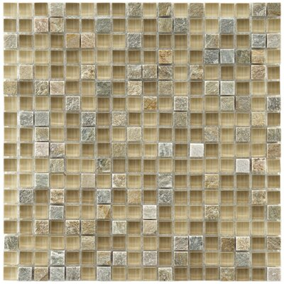 "EliteTile Sierra 11-3/4"" x 11-3/4"" Glass and Stone Mini Mosaic in Suffolk"