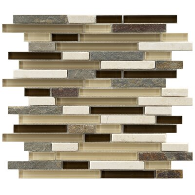 "EliteTile Sierra 11-3/4"" x 11-3/4"" Polished Glass and Stone Piano Mosaic in Nassau"