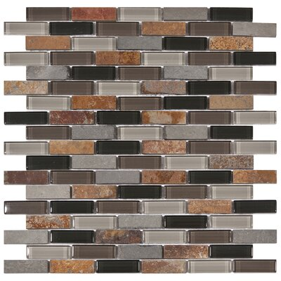 "EliteTile Sierra 12"" x 11-3/4"" Polished Glass and Stone Subway Mosaic in Stonehenge"