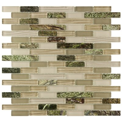 "EliteTile Sierra 12"" x 11-3/4"" Polished Glass and Stone Piano Mosaic in Rainforest"