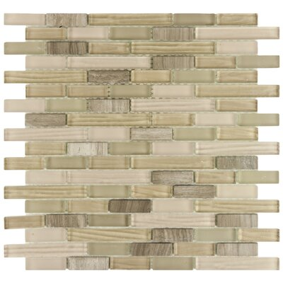 "EliteTile Sierra 12"" x 11-3/4"" Polished Glass and Stone Piano Mosaic in Sahara"