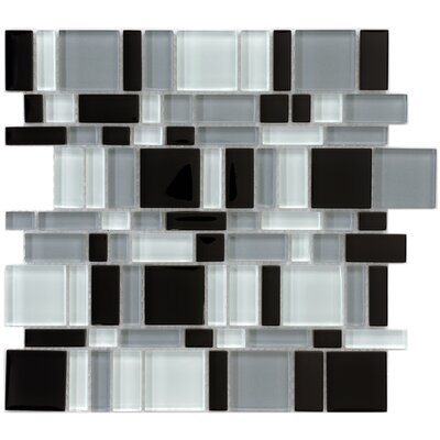 "EliteTile Sierra 11-3/4"" x 11-3/4"" Polished Glass Mosaic in Magic Night"