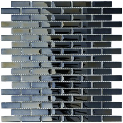 "EliteTile Sable 11-3/4"" x 11-3/4"" Polished Glass Subway Mosaic in Black Mirror"