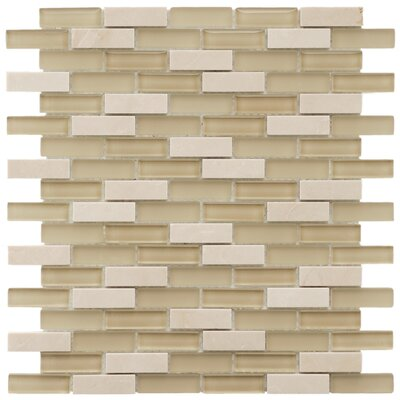 "EliteTile Sierra 1-7/8"" x 1/2"" Polished Glass and Stone Subway Mosaic in Sandstone"