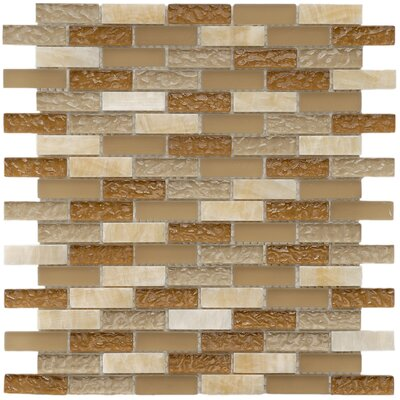 "EliteTile Sierra 11-3/4"" x 11-3/4"" Polished Glass and Stone Subway Mosaic in Amber"