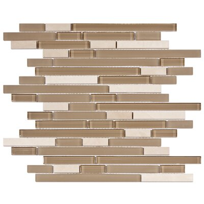 "EliteTile Sierra 12"" x 11-3/4"" Polished Glass and Stone Piano Mosaic in Sandstone"