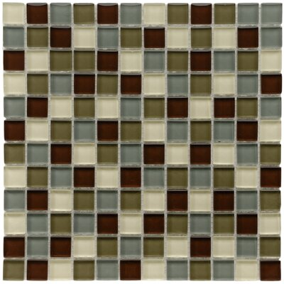 "EliteTile Sierra 11-3/4"" x 11-3/4"" Polished Glass and Stone Square Mosaic in Canopy"