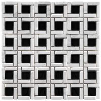 "EliteTile Sierra 11-3/4"" x 11-3/4"" Polished Glass and Stone Cubic Mosaic in Classic"