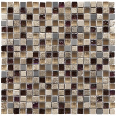 "EliteTile Sierra 11-3/4"" x 11-3/4"" Polished Glass, Stone and Metal Mini Mosaic in Aurora"