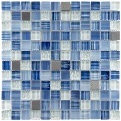 "EliteTile Sierra 7/8"" x 7/8"" Polished Glass and Metal Square Mosaic in Alpine"