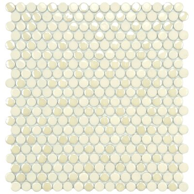 "EliteTile Posh 11-1/4"" x 12"" Penny Round Porcelain Mosaic Wall Tile in Almond"