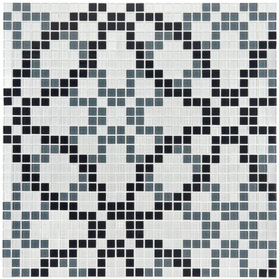 "EliteTile Ambit 7/8"" x 7/8"" Polished Floral Monochrome Glass Mosaic Wall Tile in Multi"