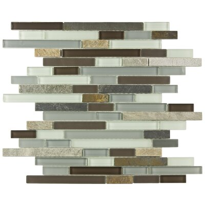 EliteTile Sierra Random Sized Polished Piano Glass and Stone Wall  Mosaic in Tundra