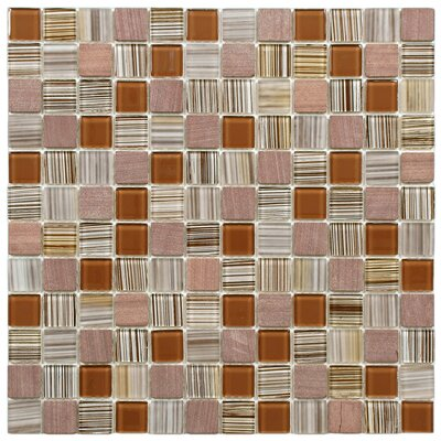 "EliteTile Chroma 7/8"" x 7/8"" Square Glass and Stone Mosaic Wall Tile in Cocoa"