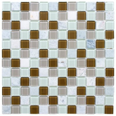 "EliteTile Chroma 7/8"" x 7/8"" Square Glass and Stone Mosaic Wall Tile in Manzanilla"