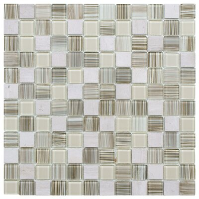 "EliteTile Chroma 7/8"" x 7/8"" Square Glass and Stone Mosaic Wall Tile in Pistachio"