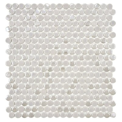 "EliteTile Posh 5/8"" x 5/8"" Penny Round Porcelain Mosaic Wall Tile in Ash"