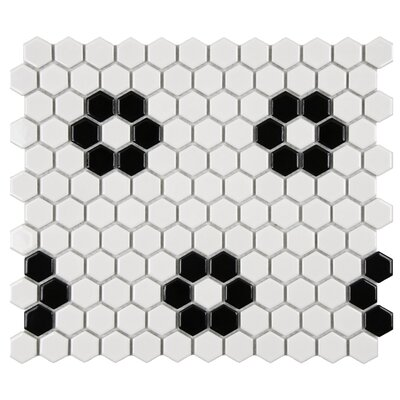 "EliteTile Retro 7/8"" x 7/8"" Glazed Porcelain Hex Mosaic in Glossy White with Heavy Flower"