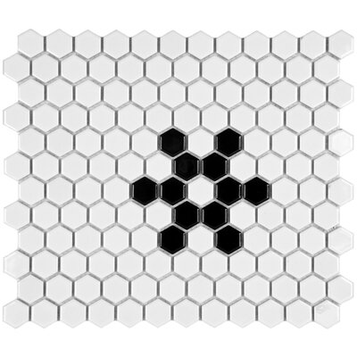 "EliteTile Retro 7/8"" x 7/8"" Glazed Porcelain Hex Mosaic in Glossy White with Snowflake"