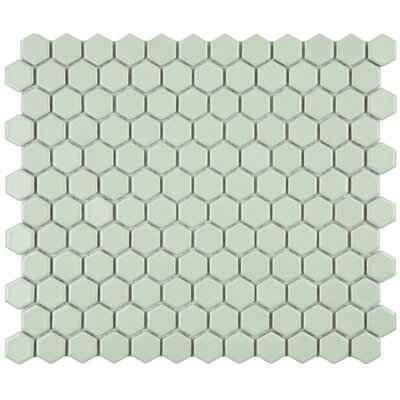 "EliteTile Retro 7/8"" x 7/8"" Glazed Porcelain Hex Mosaic in Matte Light Green"