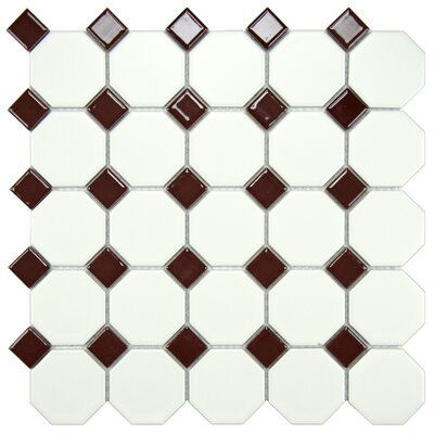 EliteTile Retro Random Sized Glazed Porcelain Mosaic with Burgundy Dot