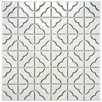 EliteTile Castle Porcelain Mosaic in Glossy Off-White