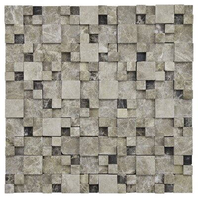 EliteTile Grizelda Random Sized Natural Stone Mosaic in Emperador