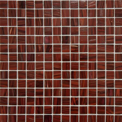 "EliteTile Fused Glass 3/4"" x 3/4"" Polished Glass Mosaic in Burgundy"