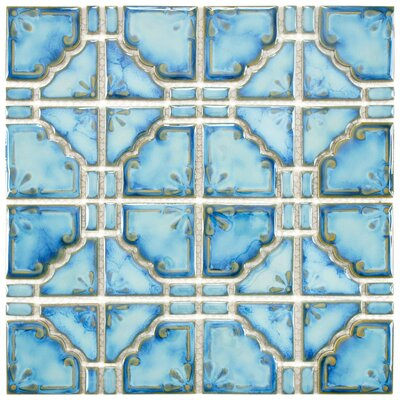 "EliteTile Moonlight 11-3/4"" x 11-3/4"" Porcelain Mosaic in Diva Blue"