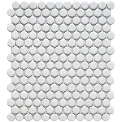 """EliteTile Retro 3/4"""" x 3/4"""" Glazed Porcelain Penni Mosaic in Matte White"""