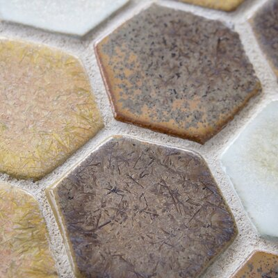 "EliteTile Heritage 12"" x 10-3/4"" Ceramic Hex Mosaic in Goldstone"