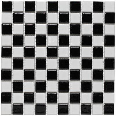 "EliteTile Checker 1"" x 1"" Glazed Porcelain Mosaic in White and Black"
