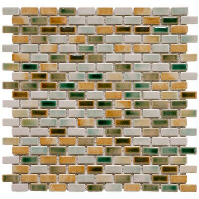 "EliteTile Arcadia 11-3/4"" x 11-3/4"" Glazed Porcelain Subway Mosaic in Springfield"