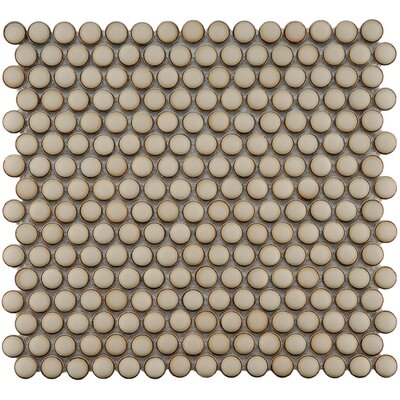"EliteTile Penny 3/4"" x 3/4"" Glazed Porcelain Mosaic in Café"
