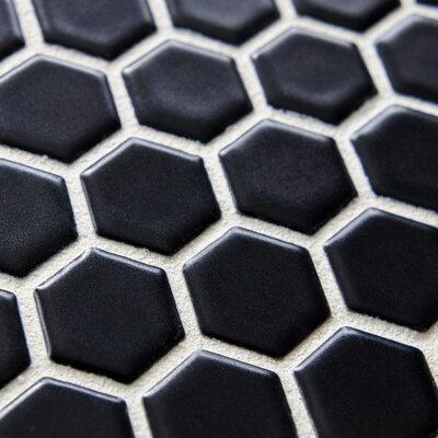 "EliteTile Retro 11-3/4"" x 10-1/4"" Glazed Porcelain Hex Mosaic in Matte Black"