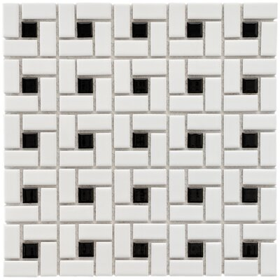 "EliteTile Retro 12-1/2"" x 12-1/2"" Glazed Porcelain Spiral Mosaic in White and Black"