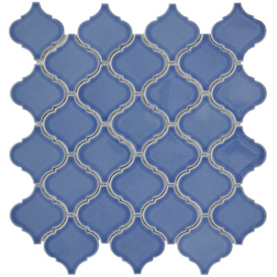 "EliteTile Beacon 3-1/4"" x 2-7/8"" Glazed Porcelain Mosaic in Blue"