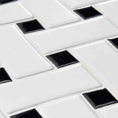 "EliteTile Basket Weave 9-3/4"" x 9-3/4"" Glazed Porcelain Mosaic in White and Black"