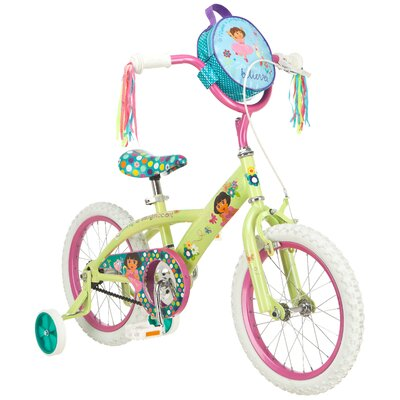 "Dora Girls 16"" Dora Bike with Training Wheels"