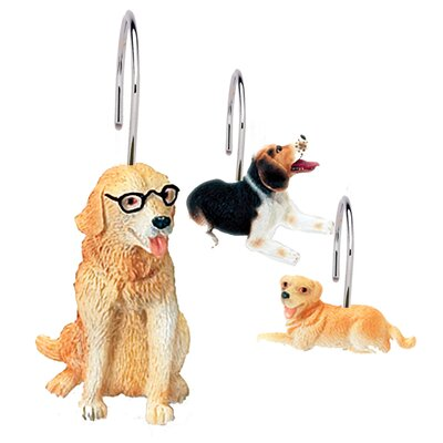 Carnation Home Fashions Dog World Shower Curtain Hooks