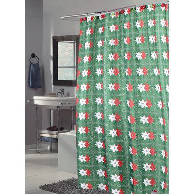 Carnation Home Fashions Poinsettia Polyester Fabric Holiday Shower Curtain
