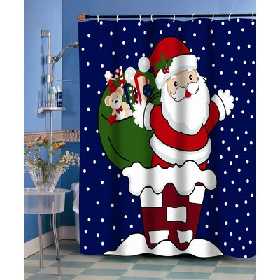 Carnation Home Fashions Up on the Rooftop Fabric Holiday Shower Curtain
