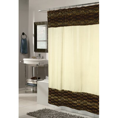 Animal Instincts Polyester Zuri Faux Fur Trimmed Shower Curtain