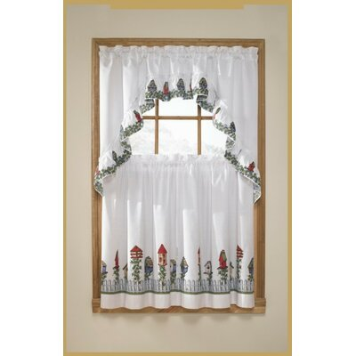 United Curtain Co. 3 Piece Birdhouse Valance and Tier Set