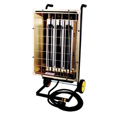 Fostoira FHK Series 20,478 BTU Infrared Utility Electric Space Heater Mounted on Portable Cart