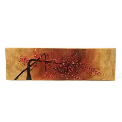 "<strong>My Art Outlet</strong> Hand Painted ""Carmine Blossom on Rust"" Oil Canvas Art"