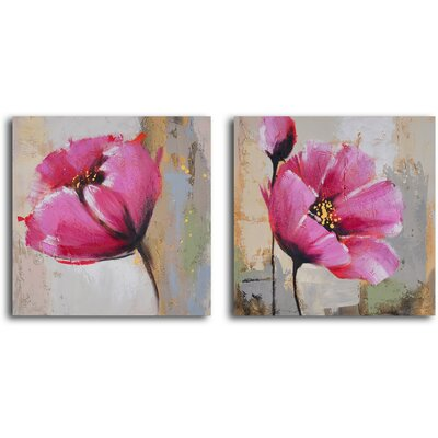 'Change of Heart Poppies' 2 Piece Original Painting on Canvas Set