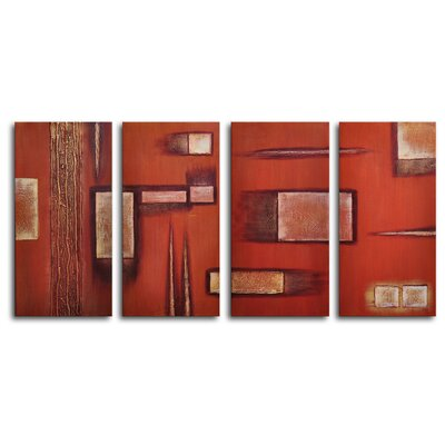 "My Art Outlet Hand Painted ""Earthern Toolbox"" 4-Piece Canvas Art Set"