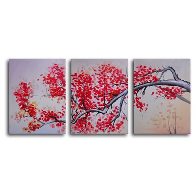 "My Art Outlet Hand Painted ""Pink Cherry, Vanilla Sky"" 3-Piece Canvas Art Set"